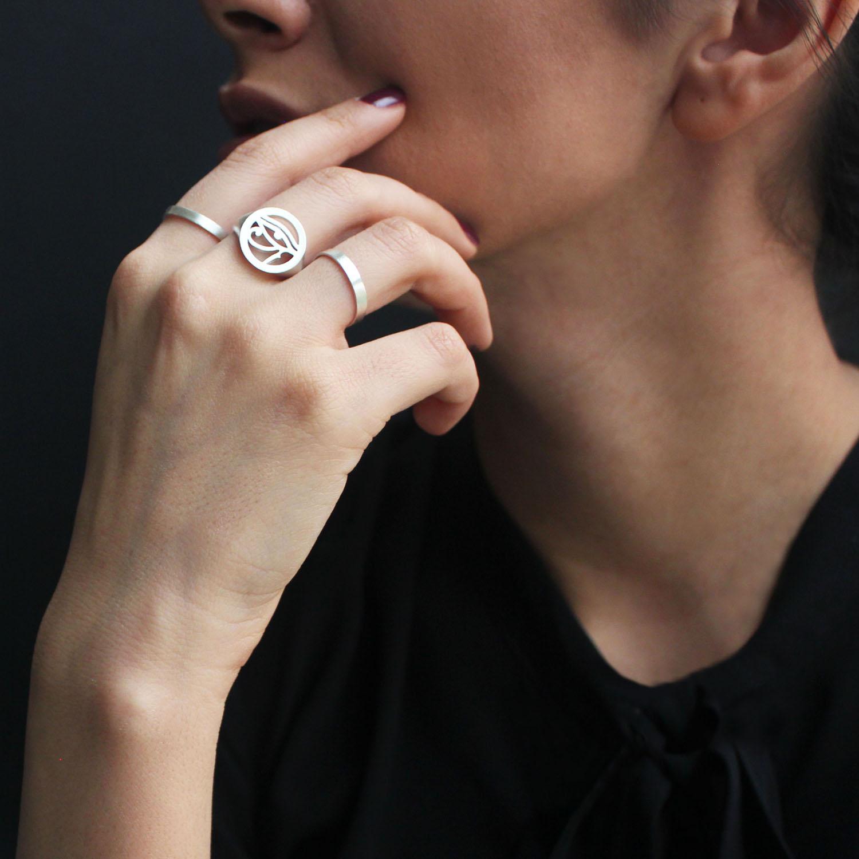 انگشتر نقره زنانه مدل چشم مصری
