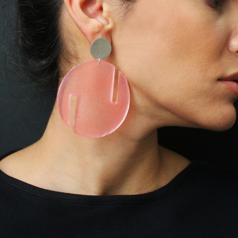 گوشواره نقره و رزین زنانه مدل دایره
