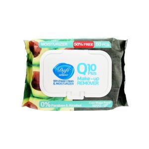 دستمال مرطوب پاک کننده آرایش دافی مدل Q10-Moisturizer آووکادو بسته 50 عددی