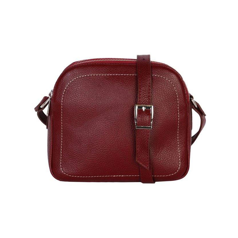 کیف دوشی چرم رویال چرم کد W61-Crimson