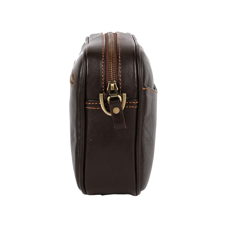 کیف دوشی چرم رویال چرم کد W58-DarkBrown
