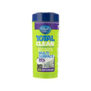 دستمال مرطوب پاک کننده چند منظوره سطوح دافی مدل Total clean بسته 50 عددی