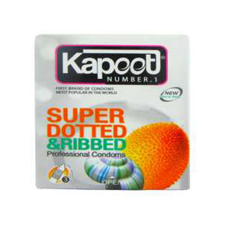 کاندوم کاپوت مدل Super Dotted And Ribbed بسته 3 عددی