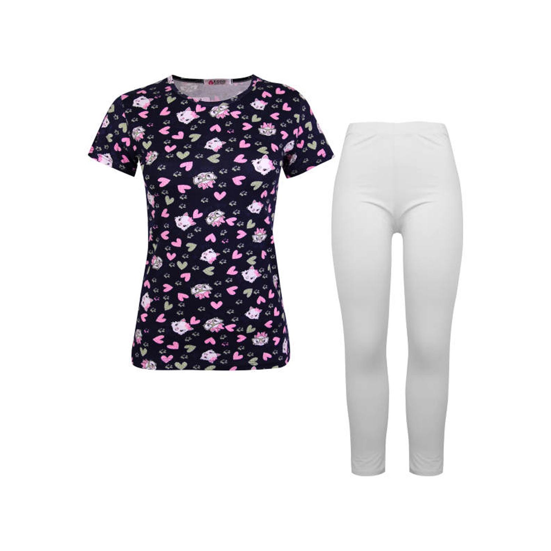 ست تی شرت و شلوار نخی دخترانه کوزا مدل 3578-3-N