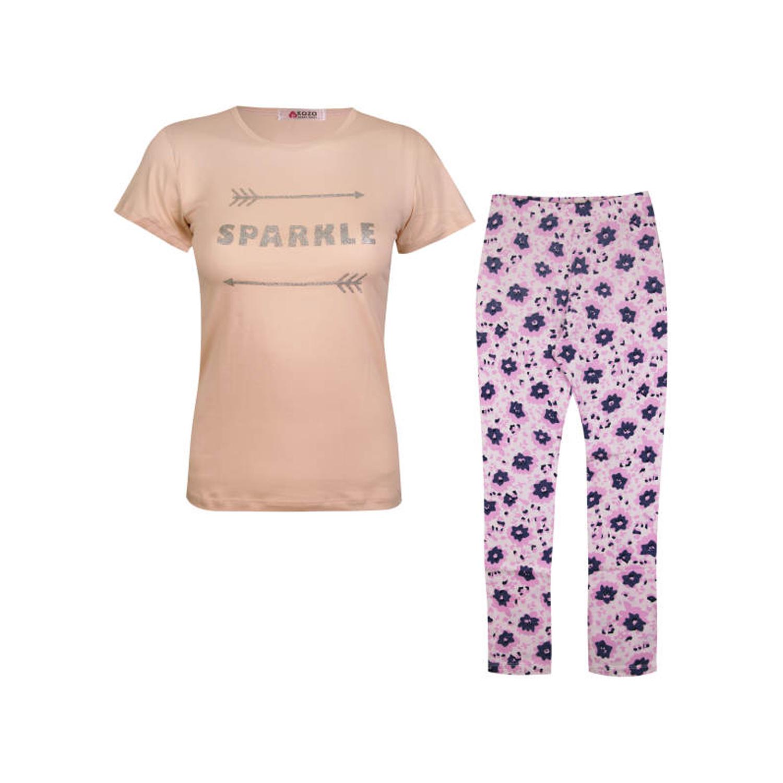 ست تی شرت و شلوار نخی دخترانه کوزا مدل 3578-2-GOL