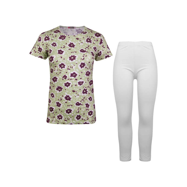 ست تی شرت و شلوار نخی دخترانه کوزا مدل 3578-1-GP