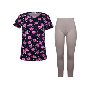 ست تی شرت و شلوار نخی زنانه کوزا مدل 3575-3-N