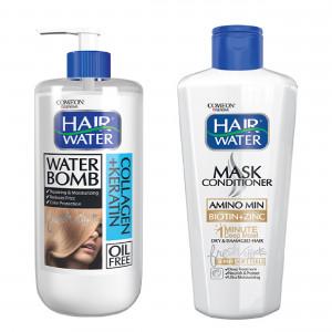 ماسک مو کامان مدل Amino Min Biotin + Zinc به همراه کرم آبرسان مو کامان مدل Collagen + Keratin Water Bomb
