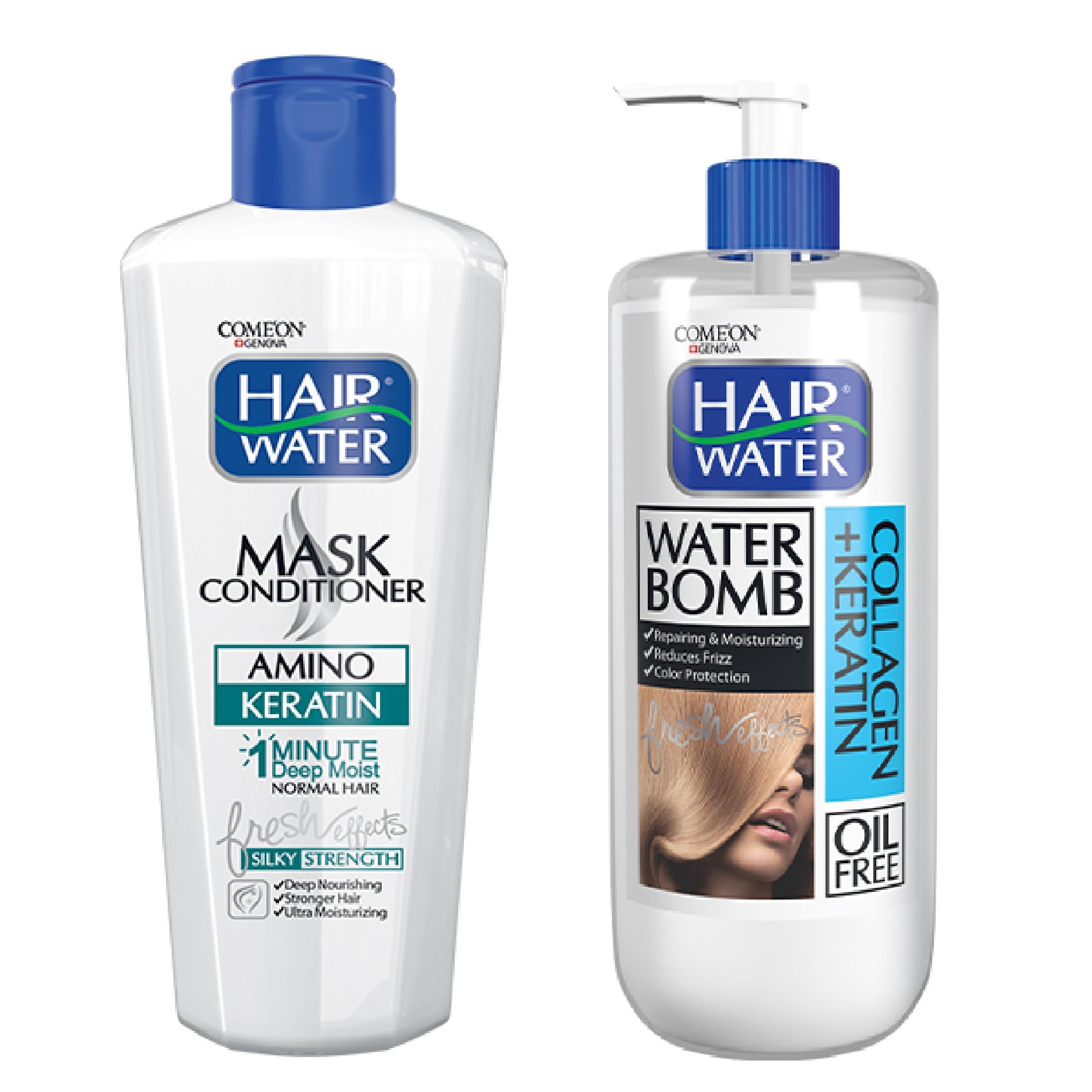 ماسک مو کامان مدل Amino Keratin به همراه کرم آبرسان مو کامان مدل Collagen + Keratin Water Bomb