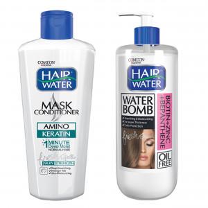 ماسک مو کامان مدل Amino Keratin به همراه کرم آبرسان مو کامان مدل Biotin + Zinc Water Bomb