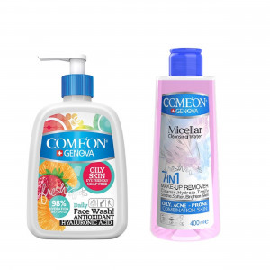 ژل شستشوی صورت کامان مناسب پوست چرب به همراه محلول پاک کننده آرایش صورت کامان مدل 7In1 - Oily Skin