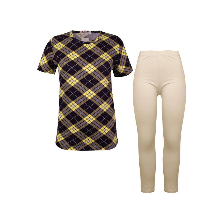 ست تی شرت و شلوار نخی زنانه کوزا مدل 3575-4-Y