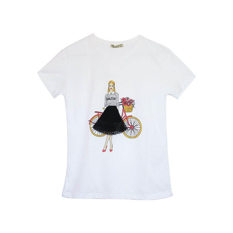 تی شرت پنبه ای زنانه طرح دختر کد 1001