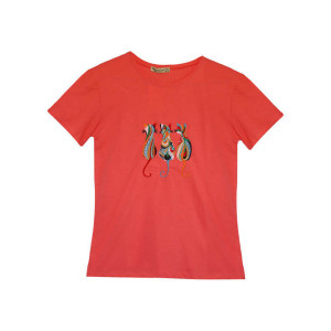 تی شرت پنبه ای زنانه طرح گربه کد 1005