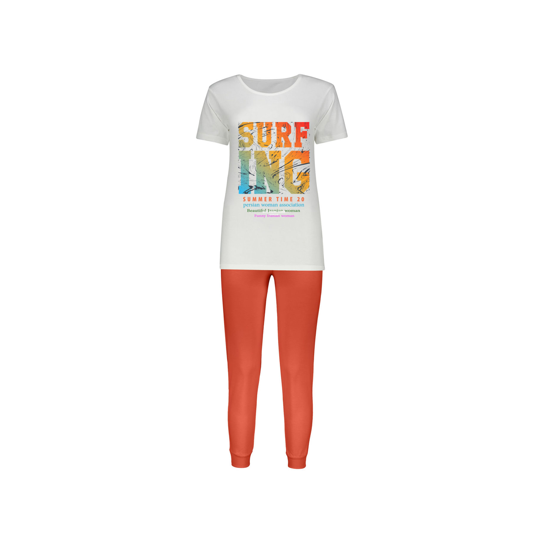 ست تی شرت و شلوار پنبه ای زنانه کد 012