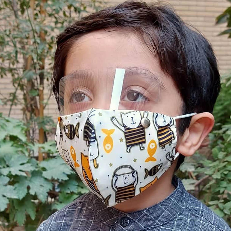 ماسک سه لایه پارچه ای سایز کودک با شیلد جدا شونده کد 601