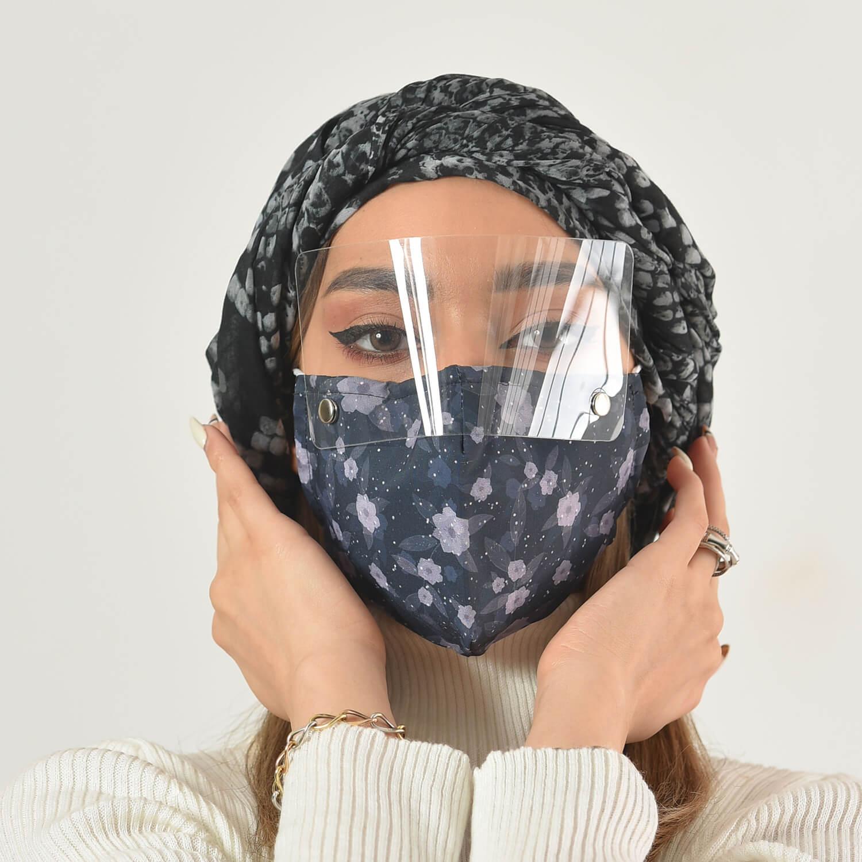 ماسک سه لایه پارچه ای با شیلد جدا شونده کد 10