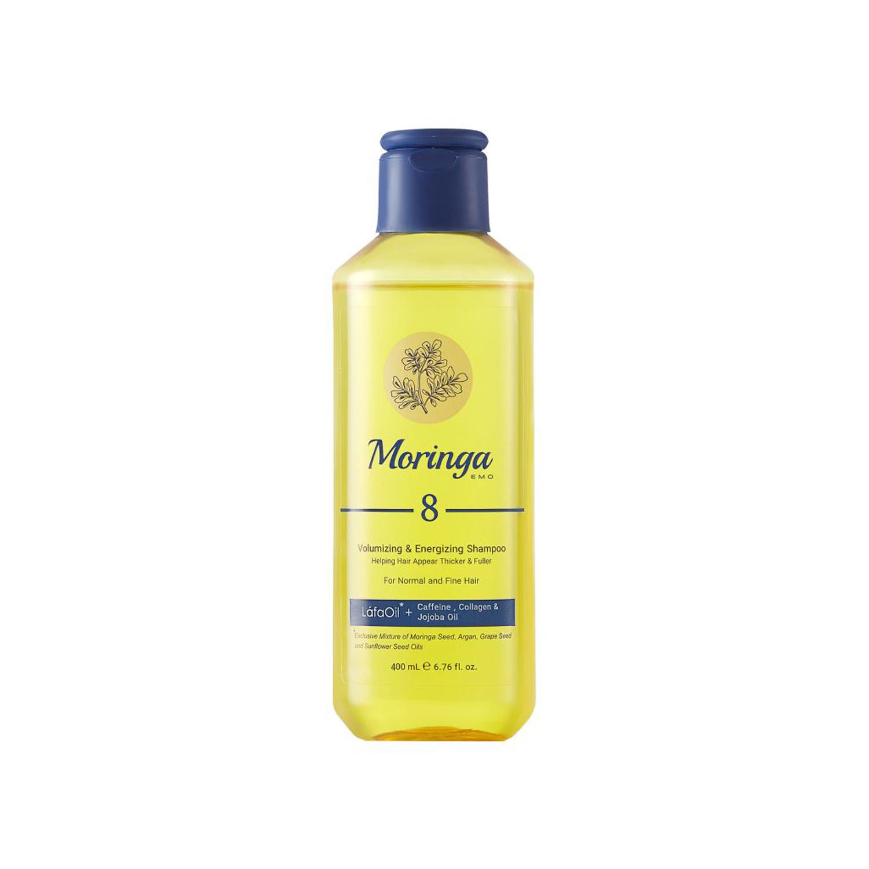 شامپو حجم دهنده و انرژی بخش مورینگا امو کد 8 مخصوص موهای معمولی و نازک حجم 400 میلی لیتر