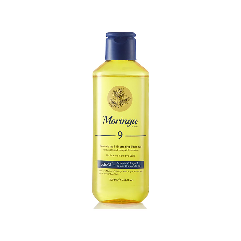 شامپو حجم دهنده و انرژی بخش مورینگا امو کد 9 مخصوص پوست سر خشک و حساس حجم 200 میلی لیتر
