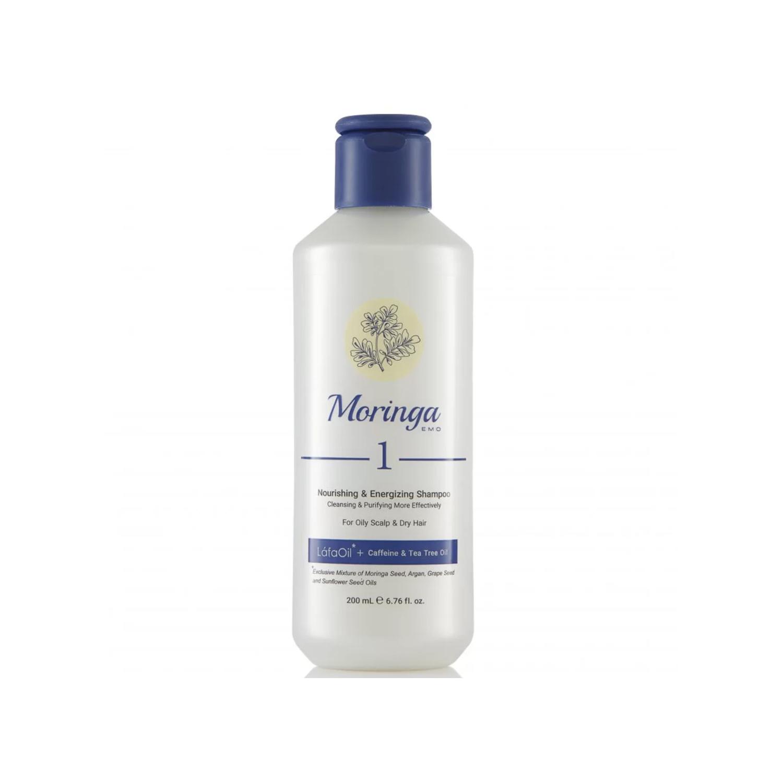 شامپو مغذی و انرژی بخش مورینگا امو کد 1 مخصوص پوست سر چرب و موی خشک حجم 200 میلی لیتر