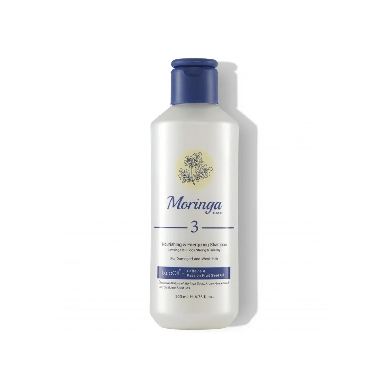 شامپو مغذی و انرژی بخش مورینگا امو کد 3 مخصوص موهای آسیب دیده و ضعیف حجم 200 میلی لیتر