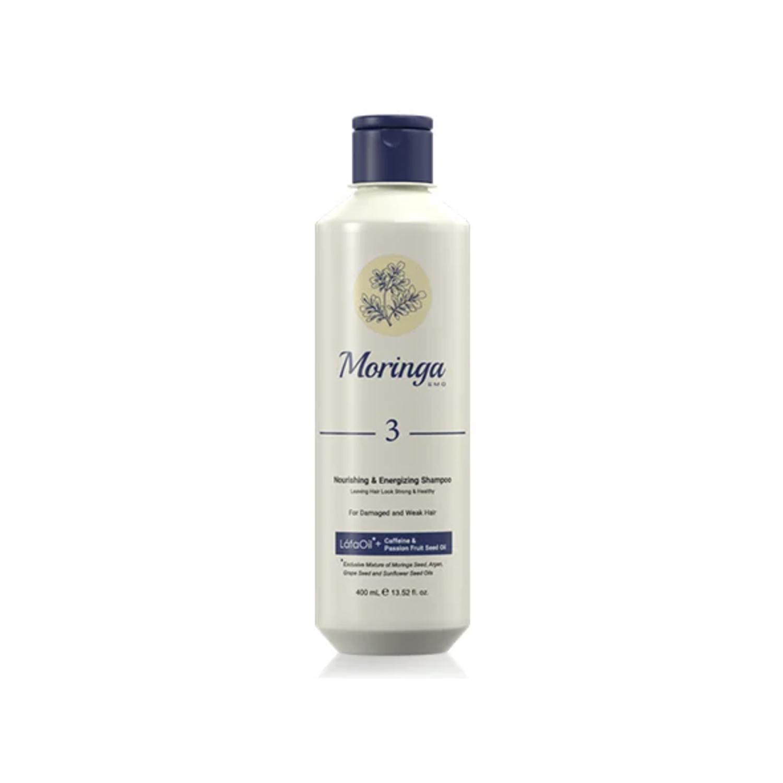 شامپو مغذی و انرژی بخش مورینگا امو کد 3 مخصوص موهای آسیب دیده و ضعیف حجم 400 میلی لیتر