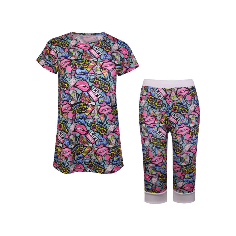 ست تی شرت و شلوارک نخی زنانه ماییلدا مدل 3586-10