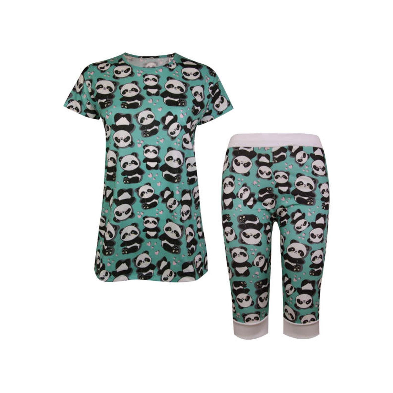 ست تی شرت و شلوارک نخی زنانه ماییلدا مدل 3586-6