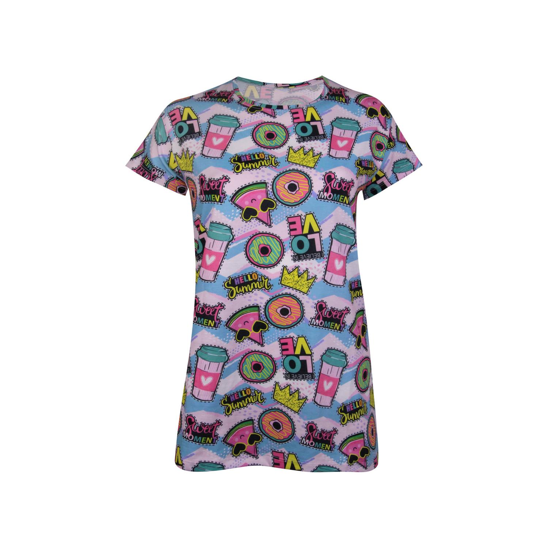 ست تی شرت و شلوارک نخی زنانه ماییلدا مدل 3586-5