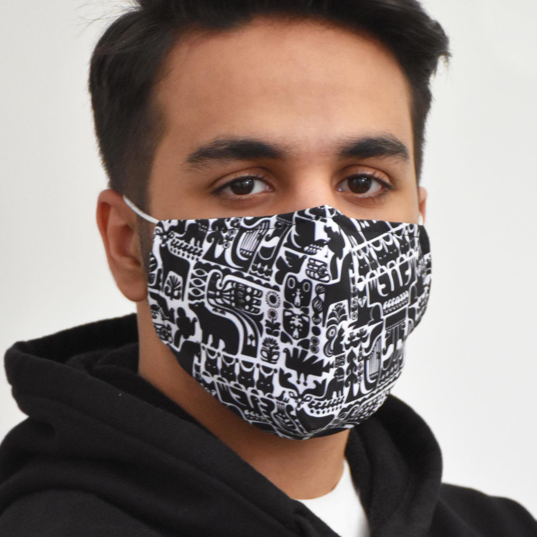 ماسک سه لایه پارچه ای با شیلد جدا شونده کد 30