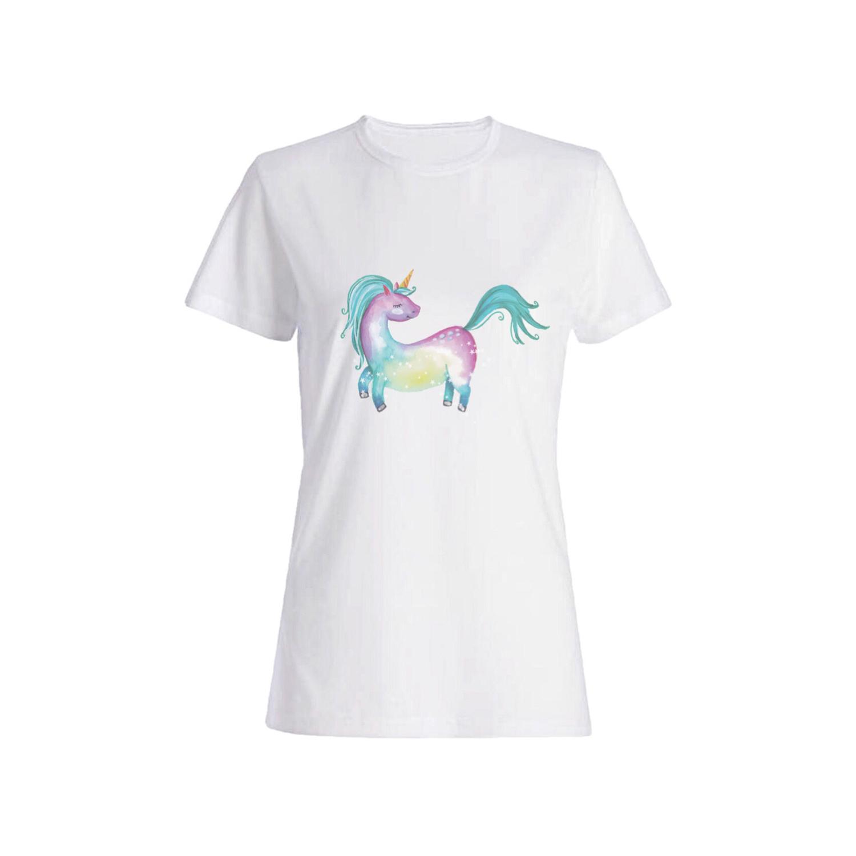 تی شرت نخی زنانه طرح اسب شاخ دار کد 13