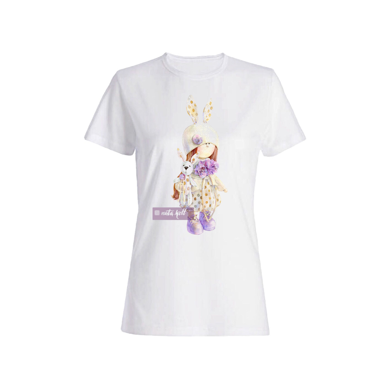 تی شرت نخی زنانه طرح خرگوش کد IMG_2568