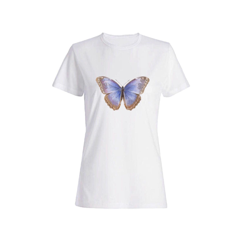 تی شرت نخی زنانه طرح پروانه کد 7444