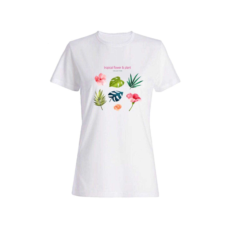 تی شرت نخی زنانه طرح برگ کد a124