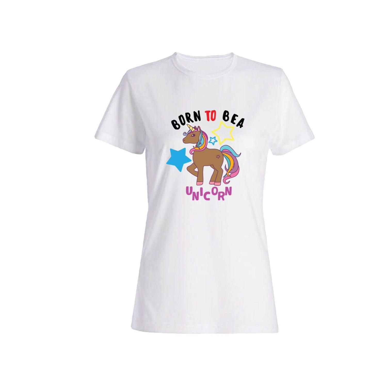 تی شرت نخی زنانه طرح اسب تک شاخ کد a0120