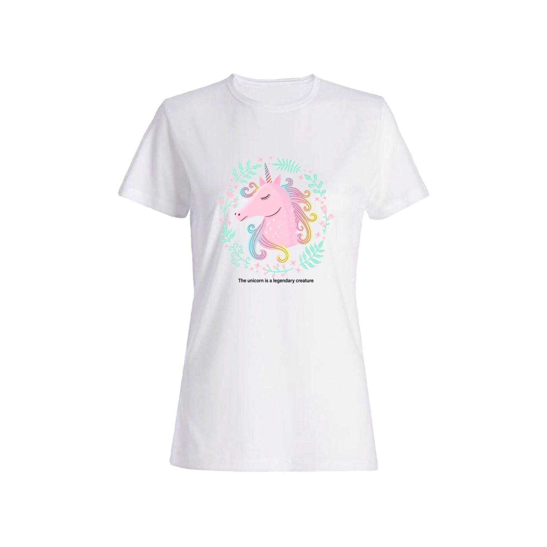 تی شرت نخی زنانه طرح اسب تک شاخ کد a0119