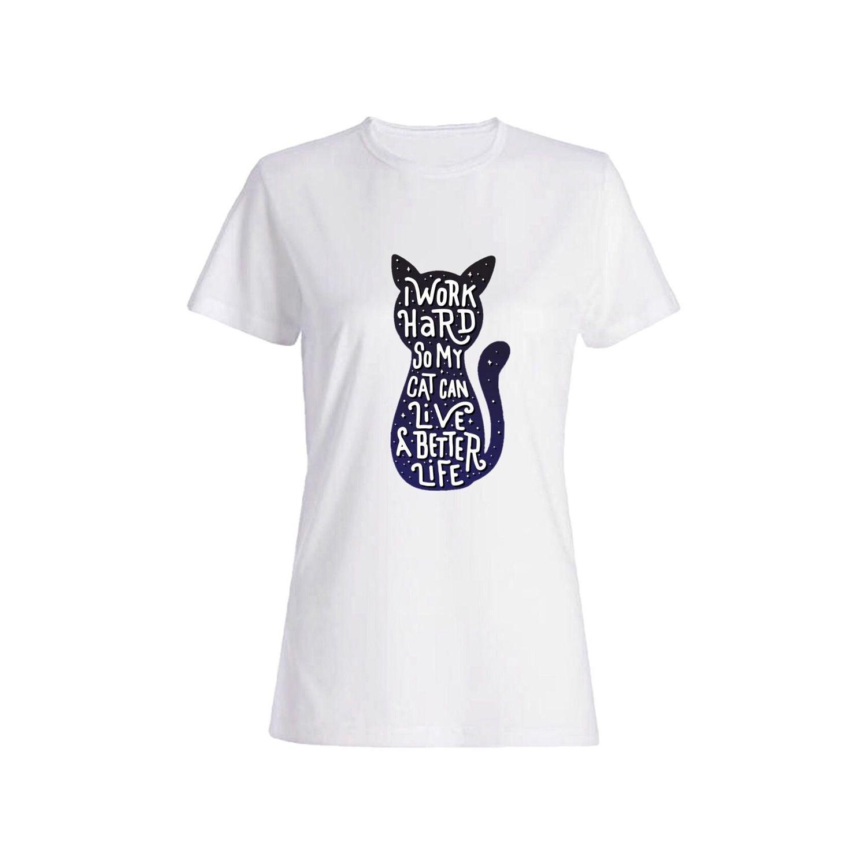 تی شرت نخی زنانه طرح گربه کد 606400