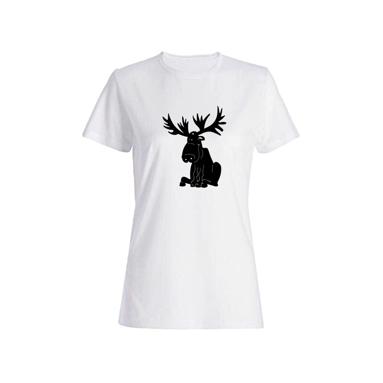 تی شرت نخی زنانه طرح گوزن کد 5857
