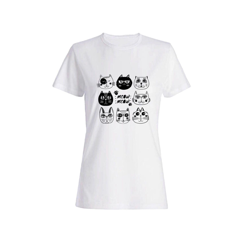 تی شرت نخی زنانه طرح گربه کد 5556