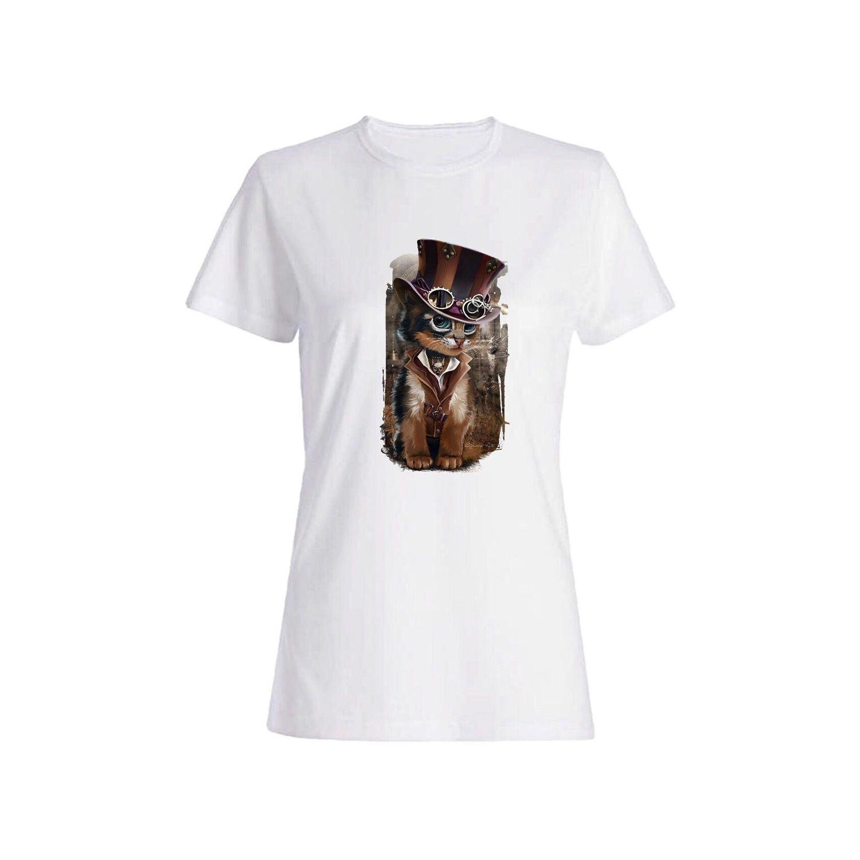تی شرت نخی زنانه طرح گربه کد 5155