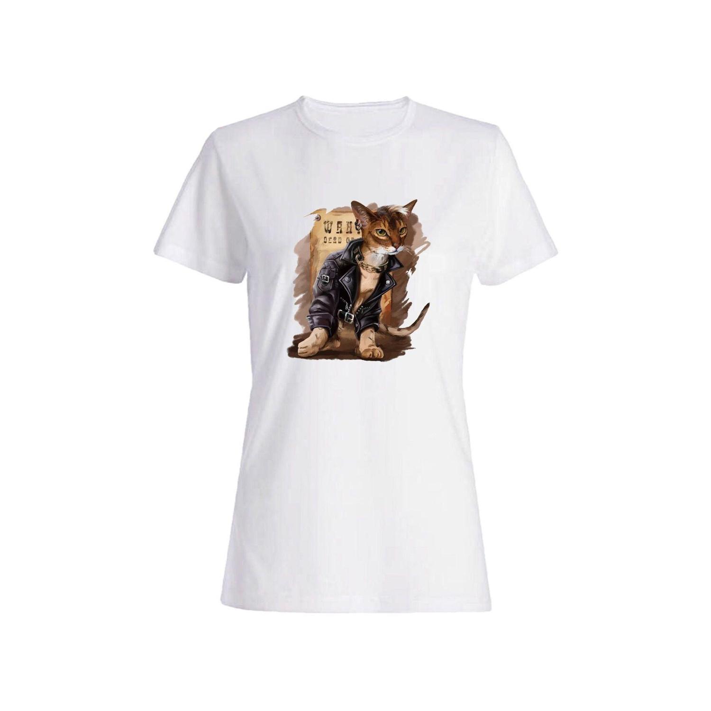 تی شرت نخی زنانه طرح گربه کد 5152