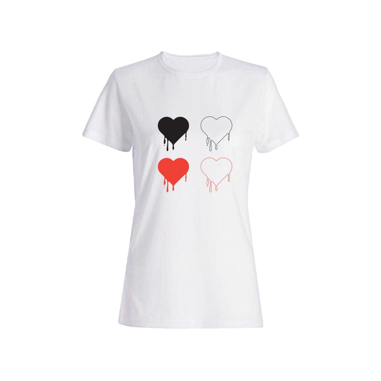 تی شرت نخی زنانه طرح قلب کد 4476