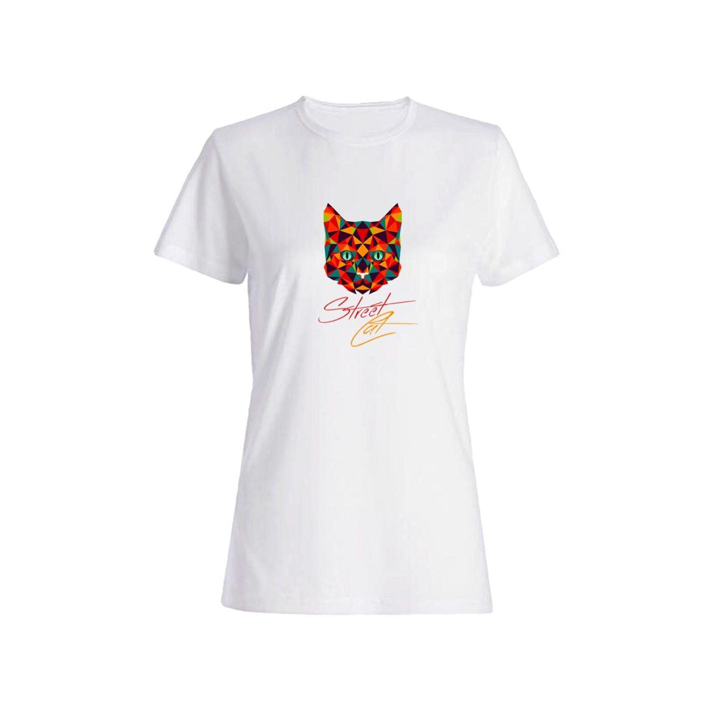 تی شرت نخی زنانه طرح گربه کد 4456