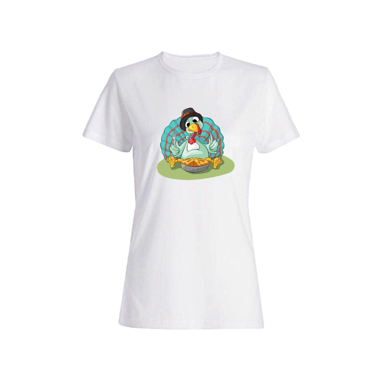 تی شرت نخی زنانه طرح بوقلمون کد 4373