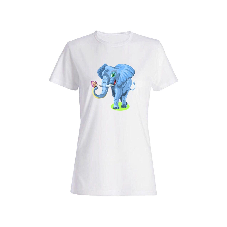 تی شرت نخی زنانه طرح فیل کد 4365
