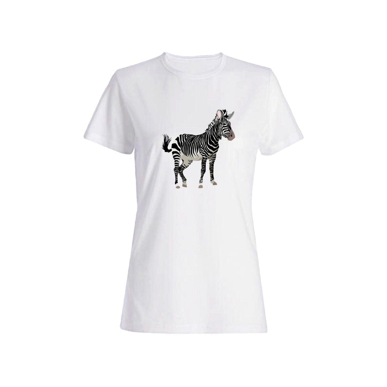 تی شرت نخی زنانه طرح گورخر کد 3922