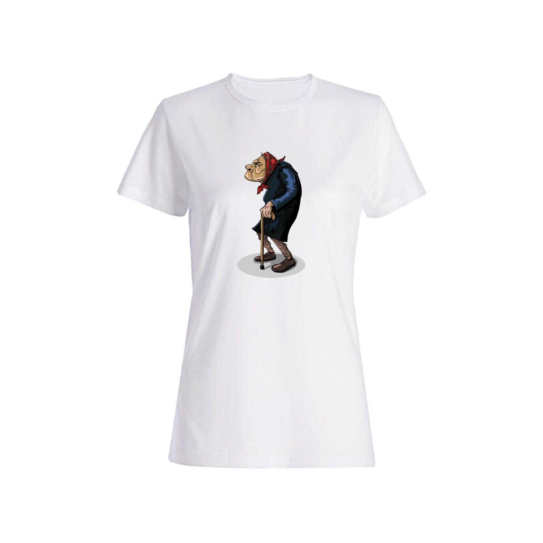 تی شرت نخی زنانه طرح پیرزن کد 3909