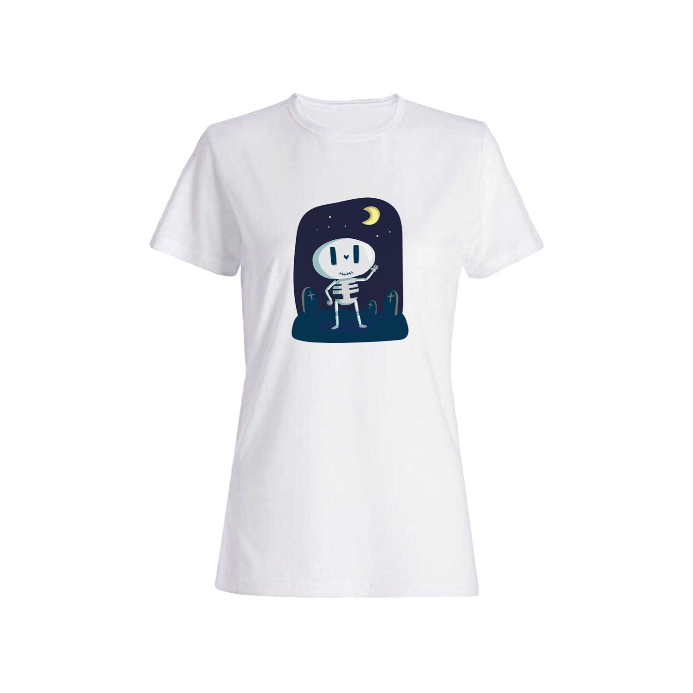 تی شرت نخی زنانه طرح اسکلت کد 3906