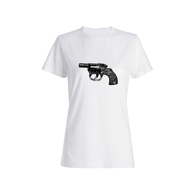 تی شرت نخی زنانه طرح تفنگ کد 3895