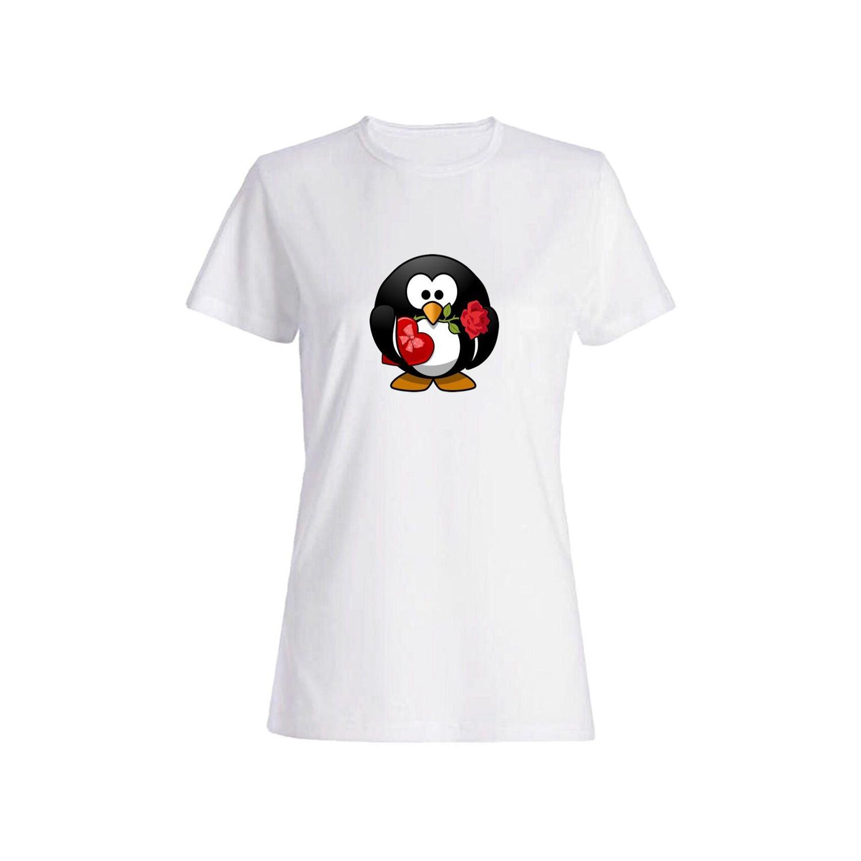 تی شرت نخی زنانه طرح پنگوئن کد 3892